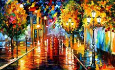 Improvisation Of Lights Modern Oil Painting by AfremovArtStudio