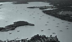 """""""PBY seaplanes moored on Lake Worth in 1940 at Fort Worth, Texas."""