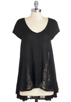 Lead the Sway Tunic - Black, Solid, Lace, Casual, Short Sleeves, V Neck, Black, Short Sleeve