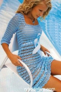 Openwork dress with belt