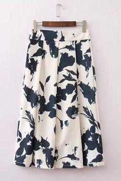 White Print Pleated Vintage Zipper Dress