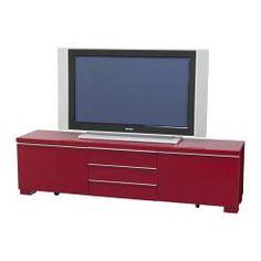 BESTÅ BURS TV bench, high-gloss red Width: 180 cm Depth: 41 cm Height: 49 cm