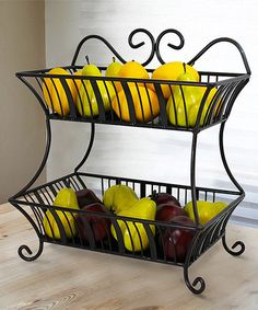 Use on island or coffee station. Love this Antique Black Delaware Two-Tier Basket on #zulily! #zulilyfinds