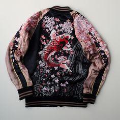MAYU Japan SAKURA Cherry Blossoms Heavy Embroidery Rising Koi Fish Tattoo Art Design Souvenir Sukajan Jacket - Japan Lover Me Store