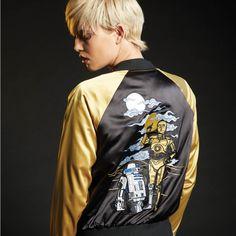 Satin cyborg // Her Universe Star Wars C-3PO R2-D2 Embroidered Girls Satin Souvenir Jacket