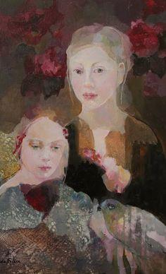 Fractured Angelics mixed media Painting by Francoise de Felice by bessie Kunst Online, Illustration Art, Illustrations, Art Moderne, Figure Painting, Portrait Art, Beautiful Paintings, Figurative Art, Oeuvre D'art