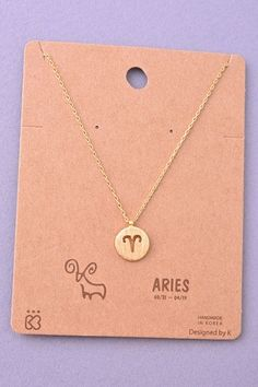 Dainty Circle Coin Aries Zodiac Symbol Necklace - Gold or Silver
