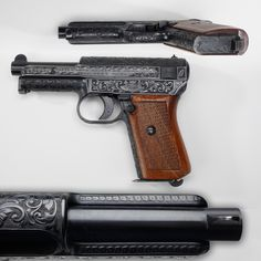 """Engraved Mauser M1914 pistol - Our GOTD really shows what """"full coverage"""" engraving can mean. Mauser's .32 M1914 design had to compete against Walther favorites like the PP and PPK pistols, but this small .32 caliber semi-automatic has engraving all over.  From the underside of the slide to its top, all around the circumference of the frame and slide – this handgun is covered. At the NRA National Firearms Museum in Fairfax, VA."""