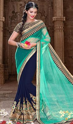 Turquoise and Mystic Blue Color Georgette Net Half N Half Sari