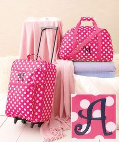 A GIRLS' MONOGRAM LUGGAGE SET TRAVEL ROLLING SUITCASE DUFFEL BAG PINK POLKA DOT