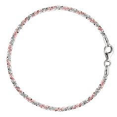 "Pink And White Sparkle Style Chain Anklet In Sterling Silver, 11"" *** Check out the image by visiting the link."