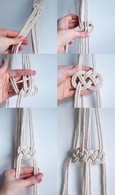DIY macrame hanging planter - infinity knot