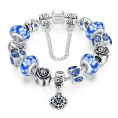 Silver Flower Glass Bead with Safety Chain Charm Bracelet - Blue