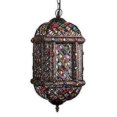 Modern Bronze Metal and Multi Coloured Patterned Moroccan Style Ceiling Light Fitting - With 1 x Thermal Plastic 4w LED SES E14 Frosted Warm White Candle Bulb: Amazon.co.uk: Lighting