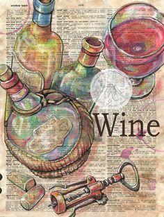 PRINT: Wine Mixed Media Drawing on Antique por flyingshoes en Etsy