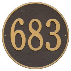 Whitehall Round 1-line Wall Plaque Bronze/Gold Letters - 2100OG