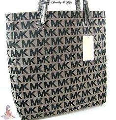 a87c17ad3 Michael Kors Logo MK Signature Purse XL Tote Black Gray Shoulder Hand Bag |  eBay Michael