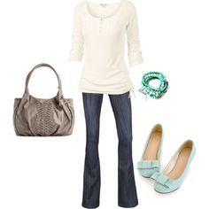 Pear Shape Fall Look - neutrals & aqua - great for us tall girls with a little extra on the end...