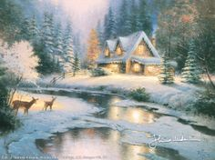 Thomas Kinkade deer creek cottage I painting for sale - Thomas Kinkade deer creek cottage I is handmade art reproduction; You can buy Thomas Kinkade deer creek cottage I painting on canvas or frame. Thomas Kinkade Art, Thomas Kinkade Christmas, Christmas Scenes, Christmas Art, Cottage Christmas, Christmas Paintings, Kinkade Paintings, Oil Paintings, Thomas Kincaid
