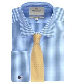 Men's White & Blue Gingham Check Slim Fit Formal Shirt - Double Cuff - Easy Iron
