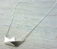 Corta papel barco collar joyería náutica de origami por ShlomitOfir