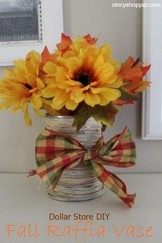 DIY Dollar Store Fall Raffia Vase