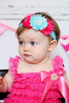 Ivory Baby Headband Shabby triple headband by BabyBloomzBoutique