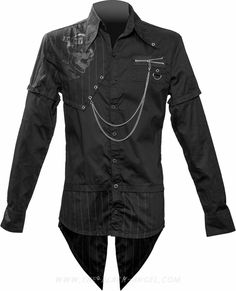 Gothic men's button-down shirt with pointed tail, by Queen of Darkness clothing, metal hardware details.
