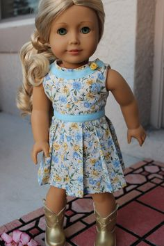 Floral Yellow and Blue Pleated Dress by SCOsammy on Etsy