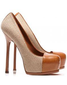 Tribtoo Linen and Tan Leather Toe Pumps ... Yves Saint Laurent <3<3<3