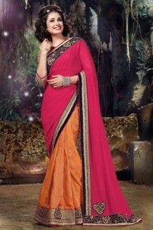 Yuvika Chaudhary Orange-Pink Color Designer Georgette-Jacquard-Silk Saree