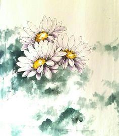 천그림 : 네이버 블로그 Gouache Painting, Fabric Painting, Fabric Art, Watercolor Pencils, Watercolor Flowers, Soft Furnishings, Handicraft, Printing On Fabric, Art Drawings