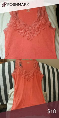 Coral lace v-neck racerback tank top Coral racerback tank with gorgeous lace detailing. Only worn a hand full of times, perfect condition! Tops Tank Tops
