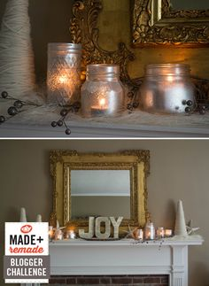 Wintry Mantel With Vintage Style >> http://blog.diynetwork.com/maderemade/2013/10/02/wintry-mantel-with-vintage-style/?soc=pinterest