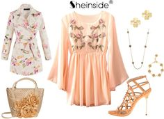 """""""Peach Dress"""" by chileez ❤ liked on Polyvore"""