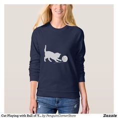 Cat Playing with Ball of Yarn in Silhouette Sweatshirt