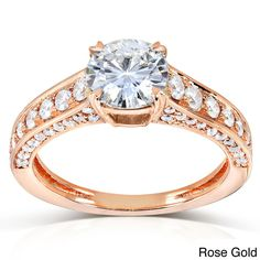 Annello by Kobelli 14k Gold Round-cut Moissanite and 1/2ct TDW Diamond Engagement Ring (G (Size 4 Rose Gold), Women's, Pink