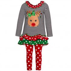 a4ddef087ed Bonnie Jean Little Girls Red Green Dot Reindeer Applique 2 Pc Legging Set  2T-6X