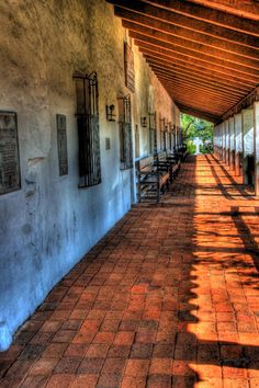 Old passageway at Mission Basilica San Diego de Alcala in San Diego California. By Paul Koester.