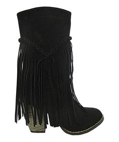 Black Wyoming Fringe Boot