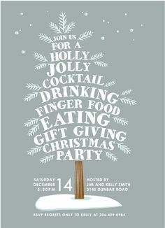 """Holly Jolly Tree"" - Customizable Holiday Party Invitations in Gray by Karidy Walker. Holiday Party Invitations by Minted Christmas Open House, Office Christmas Party, Christmas Flyer, Christmas Graphics, Christmas Cocktails, Xmas Party, Christmas Design, Holiday Parties, Christmas Holidays"