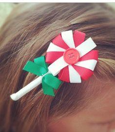 Peppermint Lollipop hair clip