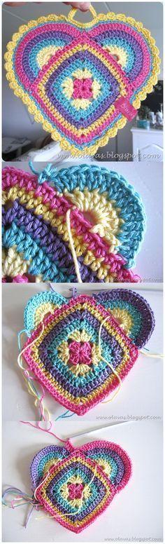 Handy Heart Shape Potholders FREE Crochet Pattern & Tutorial