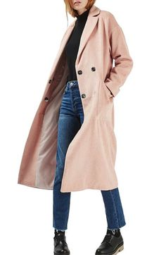 Topshop Longline Slouch Coat available at Long Pink Coat, Winter Outfits, Cool Outfits, Oversized Coat, Fall Wardrobe, Outerwear Women, Winter Wear, Long A Line, Wool Coat
