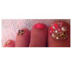 decoden, Deco, 3d, leopard heart, rhinestones, pearls, pink nail art