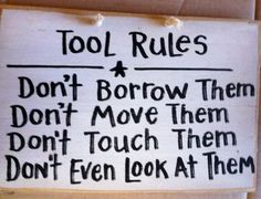 Tool rules wood sign unique gift for man dad Fathers day. $9.99, via Etsy.