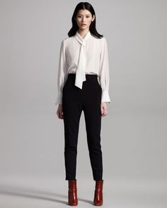 Chloe Double-Breasted Check Coat, Silk Tie-Neck Blouse & High-Waist Wool Pants - Neiman Marcus
