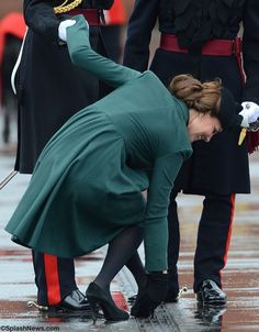 The Duke and Duchess of Cambridge attend the St Patrick's Day Parade  Oh No!!! Heel stuck in the grate!!!