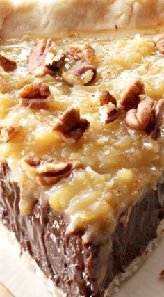 Coconut-Pecan German Chocolate Pie ~ This pie combines the ingredients everyone loves in its classic cake cousin. It's so silky and smooth, you won't be able to put your fork down pies Coconut-Pecan German Chocolate Pie Chocolate Fudge Pie, German Chocolate Pies, Chocolate Pie Recipes, Chocolate Desserts, German Chocolate Cheesecake, Sweet Recipes, Cake Recipes, Dessert Recipes, Köstliche Desserts