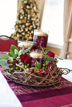 Christmas Centerpiece ... love this cranberry color, also the twig center piece
